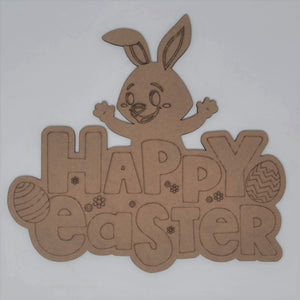 Happy Easter Sign with Bunny