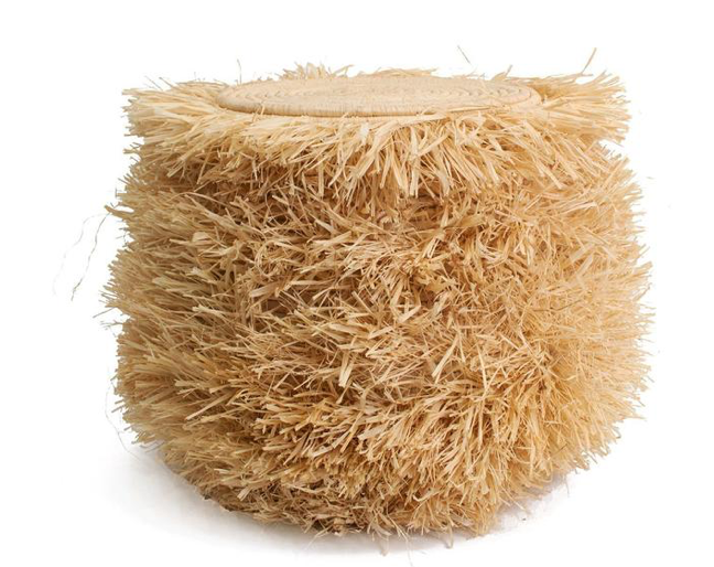Fringed Natural Stool