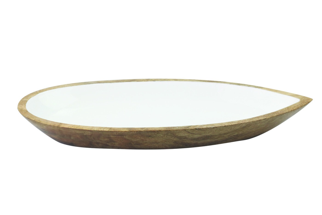 Mango Wood & Enamel Oval Dish Small