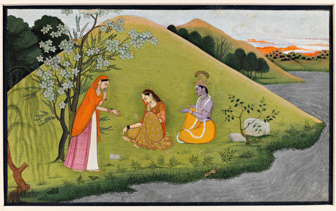 Illustration from a Gita Govinda Series: Radha Rejects Krishna's Pleading and Removes his Ring of Love
