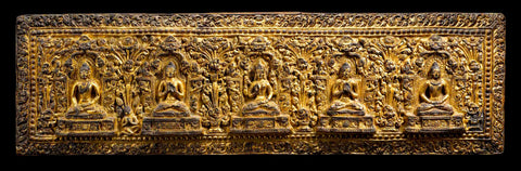08. Manuscript Cover with Prajnaparamita Flanked by Buddhas