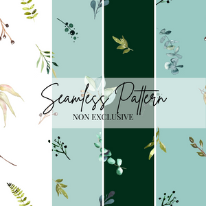 Greenery Leaves Repeat Pattern | Non Exclusive, personal, or commercial use - Kalaii Creations