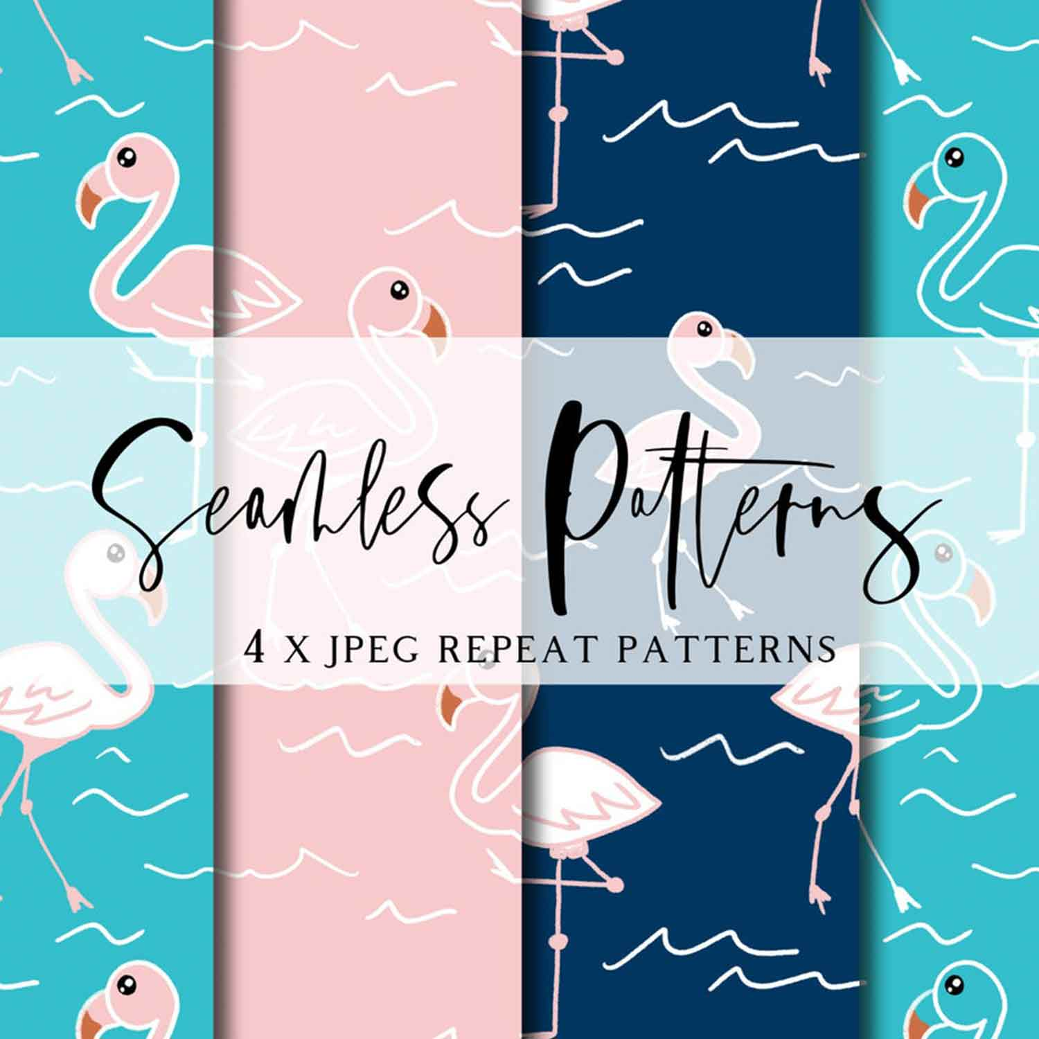Flamingo Flair Repeat Pattern | Non Exclusive, personal, or commercial use - Kalaii Creations