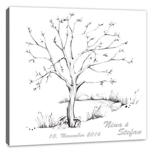 Fingerabdruck Leinwand - Wedding Tree - Vorlage Uni