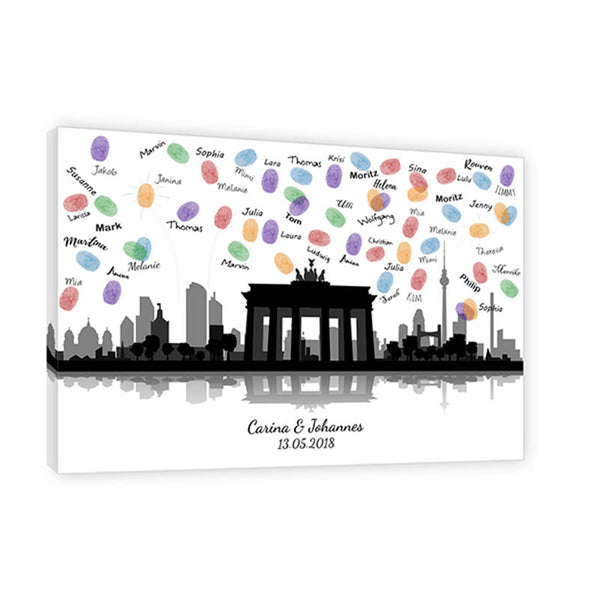 Fingerabdruck Leinwand - Fingerabdruck Skyline Berlin Panorama