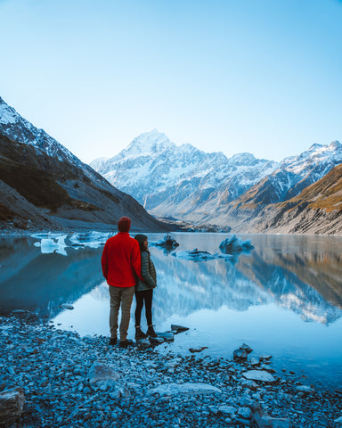 The Reflective Lake of the Hooker Valley at Mount Cook, New Zealand