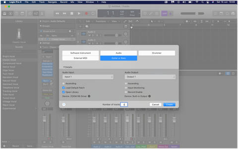 recording bass guitar logic pro x creating new audio channel live recording
