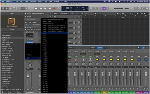 audio bus sent effects logic pro x guitar bass keys synth piano drums percussion loops