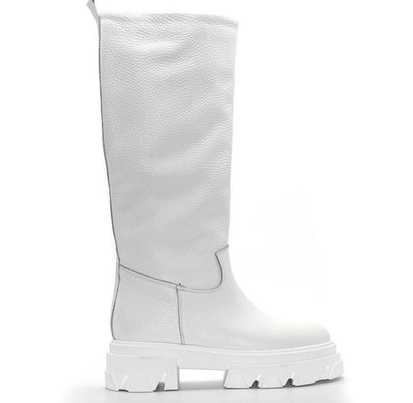 Chunky boots in vera pellemade in italy Bianco