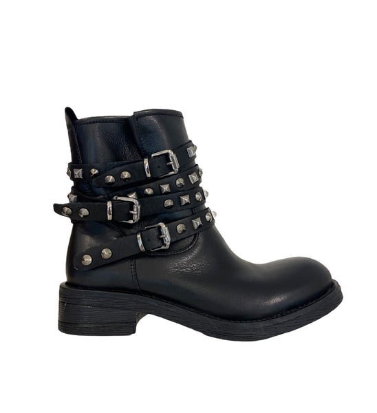 Biker Boots borchiati  in vera pelle Made In Italy DIvine Follie NERO