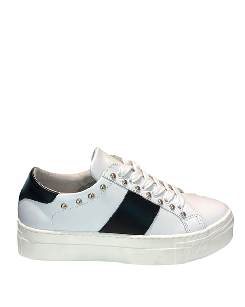 Sneakers platform donna in vera pelle made in italy Bianco /Nero