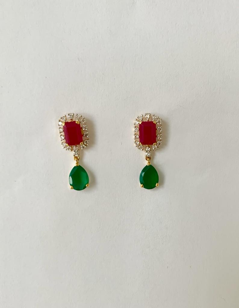 Red Green Diamond Earrings