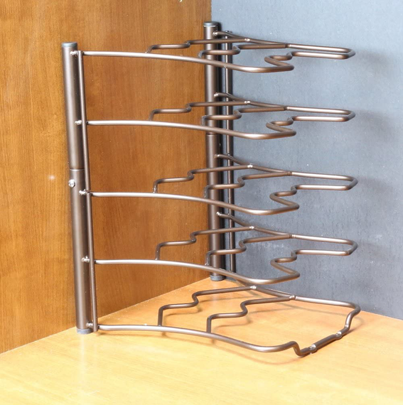 DecoBros Kitchen Counter and Cabinet Pan Organizer Shelf Rack, Bronze
