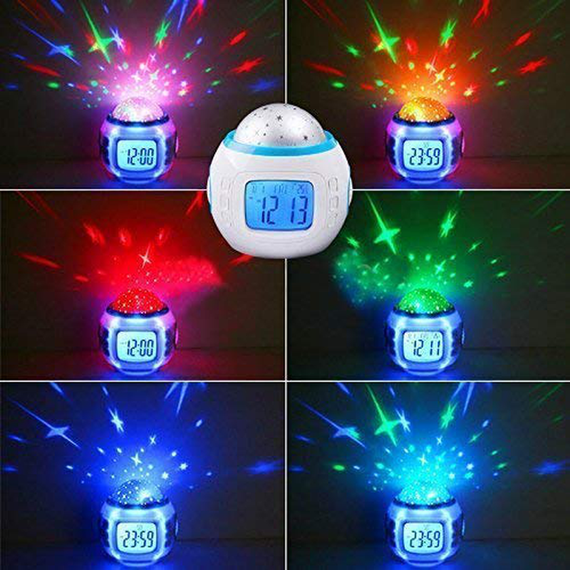 Night Light Projector Lam, Alarm Clock, sleeping music children Room Sky Star