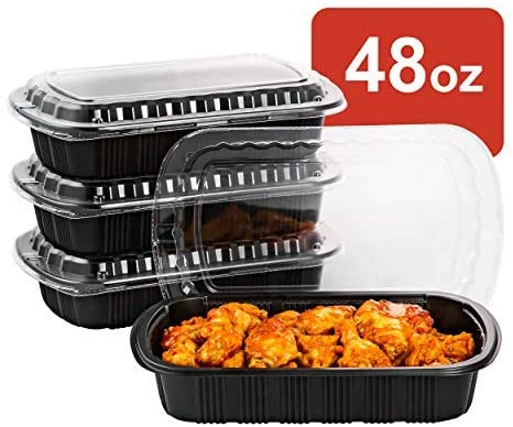 [CTC-SRIB16] 1 Compartment Rectangular Meal Prep Container with Lid - 48oz (50/100/150 Pack)