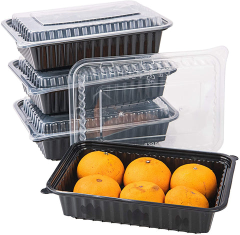 [CTC-8388] 1 Compartment Rectangular Meal Prep Container with Lids - 38oz (50/100/150 Pack)
