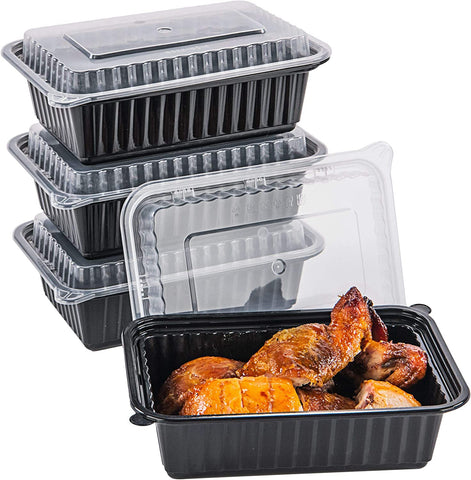 [CTC-8322] 1 Compartment Rectangular Meal Prep Container with Lids- 24oz (50/100/150 Pack)