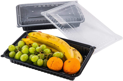 [CTC-9998] 1 Compartment Rectangular Meal Prep Container with Lids - 60 oz (50/100/150 Pack)