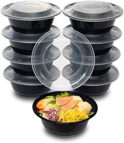 [CTC-009] Round Meal Prep Bowl Conainter with Lids - 24oz (50/100/150 Pack)