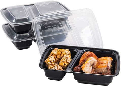 [CTC-8228] 2 Compartment Meal Prep Lunch Box With Lids - 30oz (50/100/150 Pack)