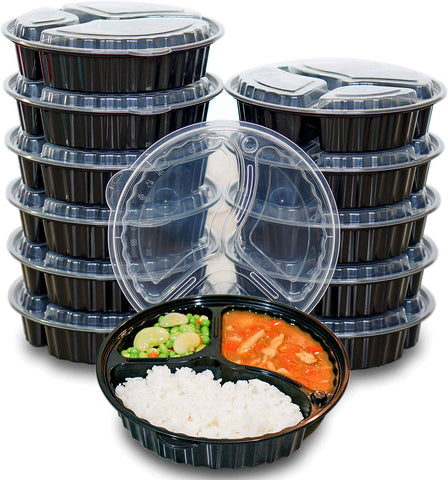 [CTC-9333] 3 Compartment Meal Prep Lunch Box With Lids - 39oz (50/100/150 Pack)