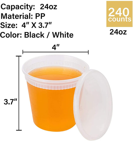 Deli Containers with Lids -240 Counts. 24oz