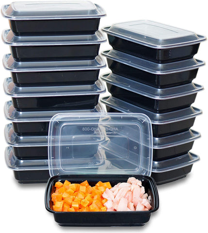 [CTC-008] 1 Compartment Rectangular Meal Prep Container with Lids - 28oz (50/100/150 Pack)