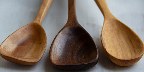 Arbor Novo collection of handmade wooden spoons.