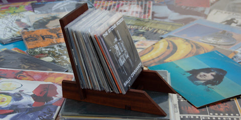 Arbor Novo handcrafted wooden vinyl lp display and various records.