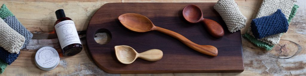 Arbor Novo premium wood care product line for wood cutting boards, wooden spoons, and wooden coffee scoops.