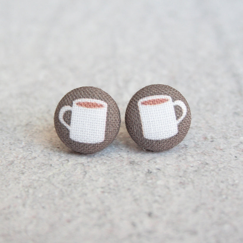 Coffee Fabric Button Earrings
