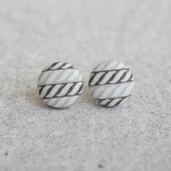 Yarn Stitch Fabric Button Earrings