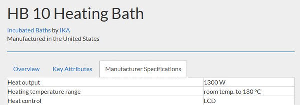 Manufacturer specifications for the HB 10 Heating Bath.