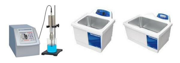 A Q700 sonicator and two Bransonic baths.
