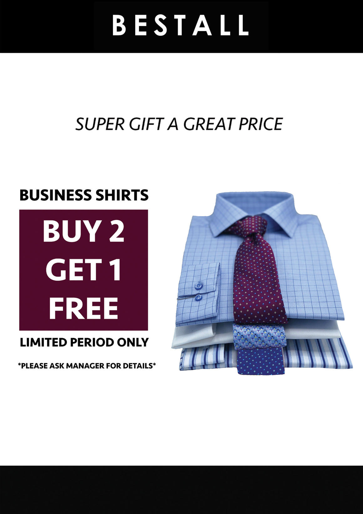 Mens business shirts buy two get one free