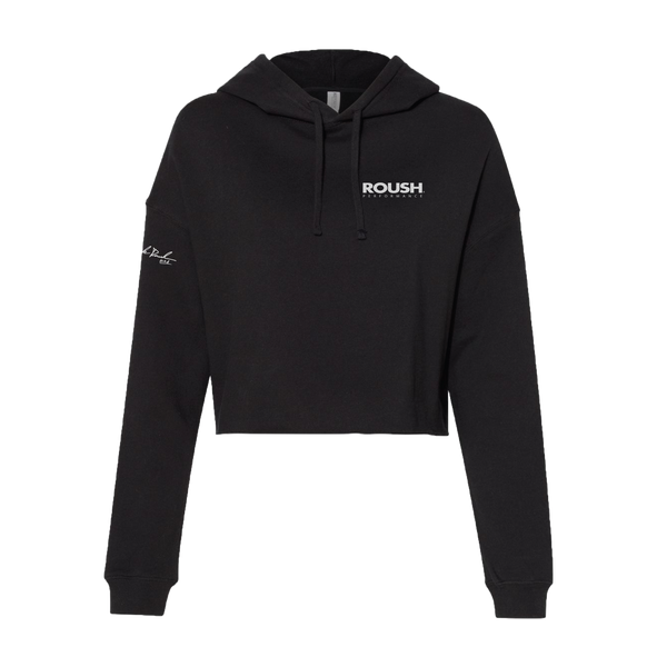 Ladies Roush Performance 25th Anniversary Black Cropped Hoodie