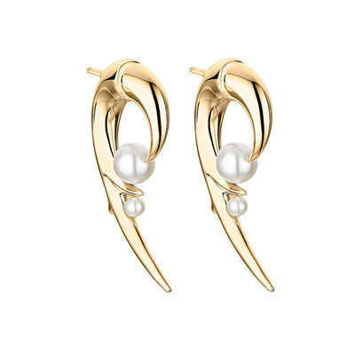 Yellow Gold Vermeil Cherry Blossom Pearl Hook Earrings