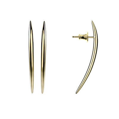 Yellow Gold Vermeil Quill Long Stud Earrings