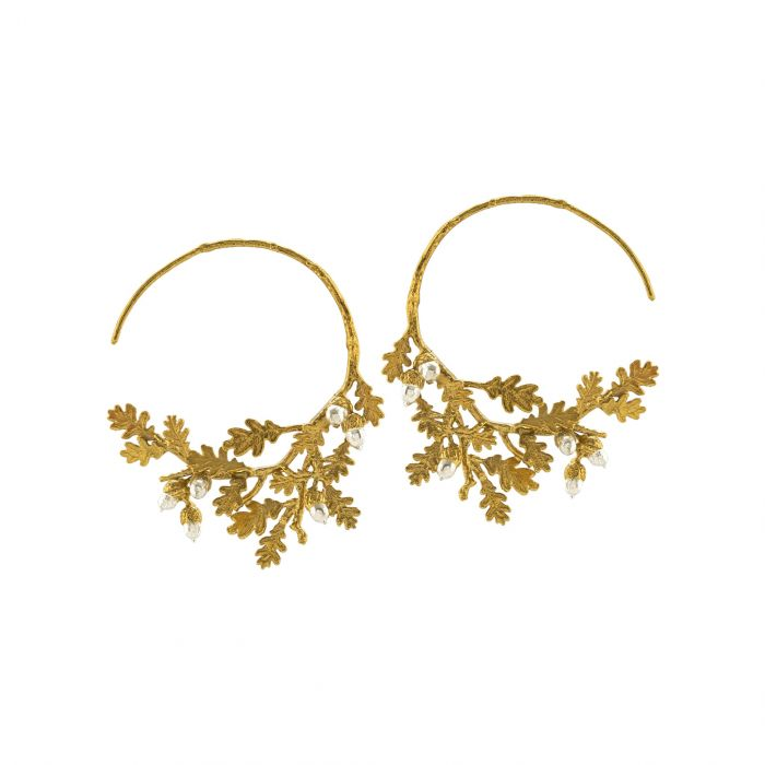 Oak Leaf & Acorn Hoop Earrings