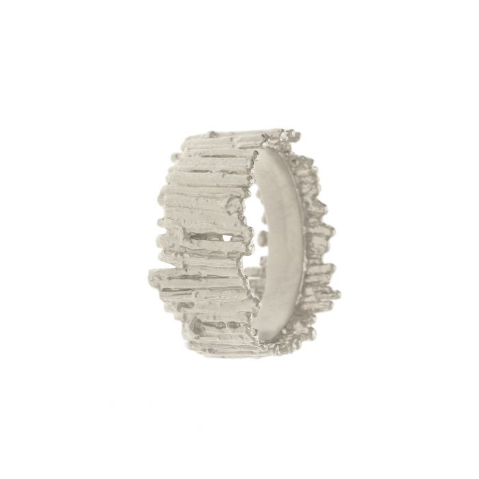 Nest Structure Wide Ring Silver