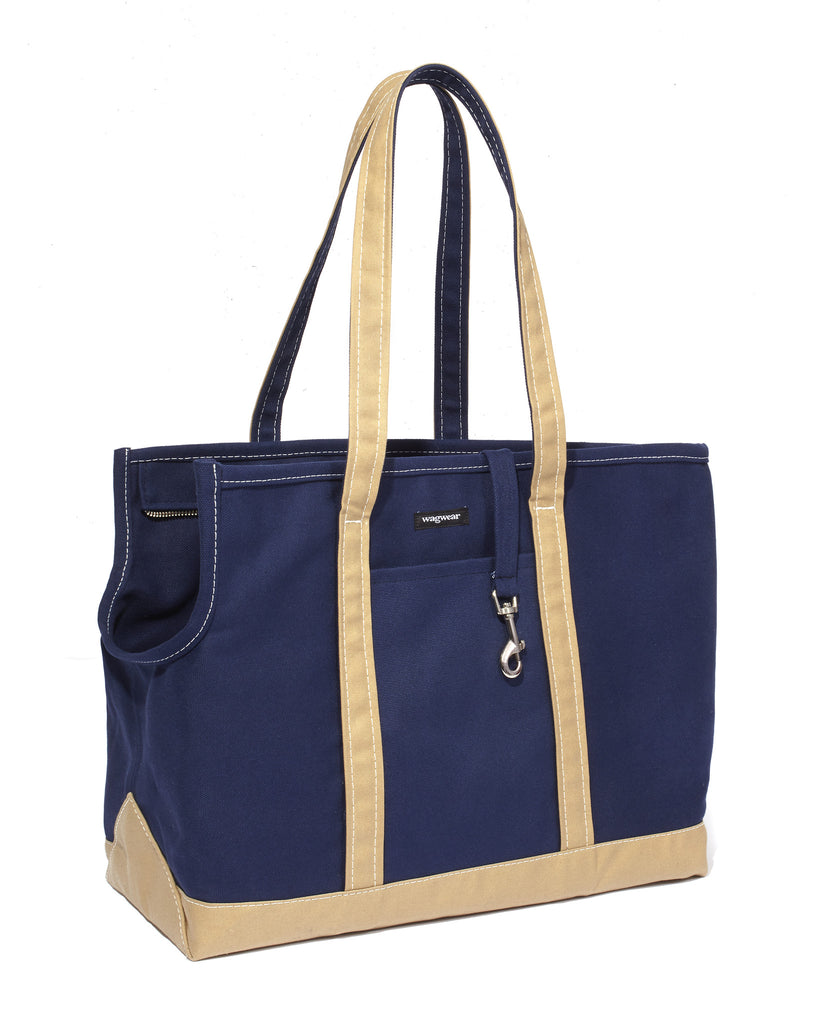 Boat Canvas Zipper Tote - Blue/Beige