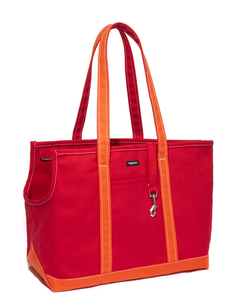 Boat Canvas Zipper Tote - Red/Orange