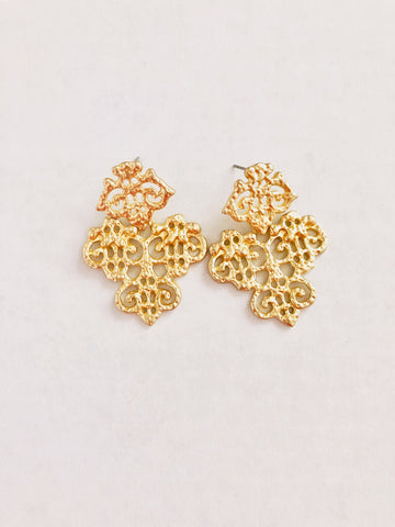 brush gold monticello earrings
