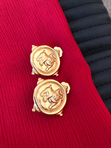 Gold Bulldog Clip Earrings