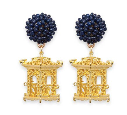 navy pagoda earrings
