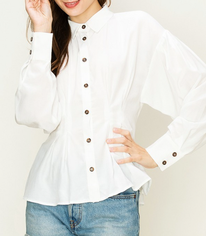 Bunny Pleated Button Down