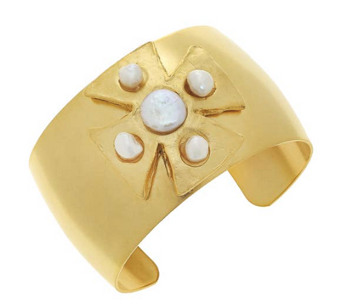 Gold Maltese Cross with Genuine Freshwater Pearl Cuff Bracelet