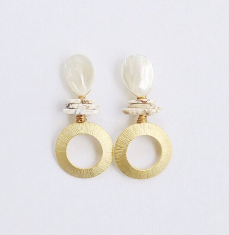 Pearl and Turquoise with Gold Ring Earrings