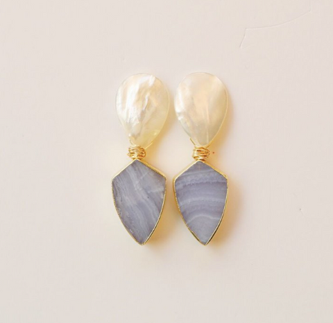 Pearl and Blue Chalcedony