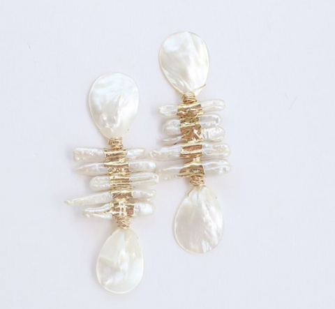 Stacked Bar Pearl Earrings